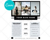 Media Kit for Bloggers, Influencer Media Kit,  Canva Media Kit, Press Kit, Media Kit 1 Page Template, Rate Sheet