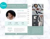 Canva Media Kit for Bloggers, Influencer Media Kit,  Press Kit, Media Kit 2 Page Template, Rate Sheet