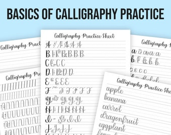 Basics of Calligraphy Practice Sheet Templates | Calligraphy Printable | iPad Procreate Calligraphy
