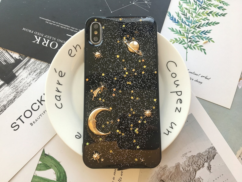 Galaxy Space Black Star Gold Phone Case for Apple iPhone 12 12 image 0