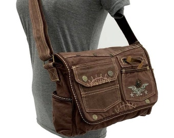 Brown Canvas 3 Pockets Front Brown Stitches Accent with Graphic Embroidered Decor Messenger School Cross Body Bag