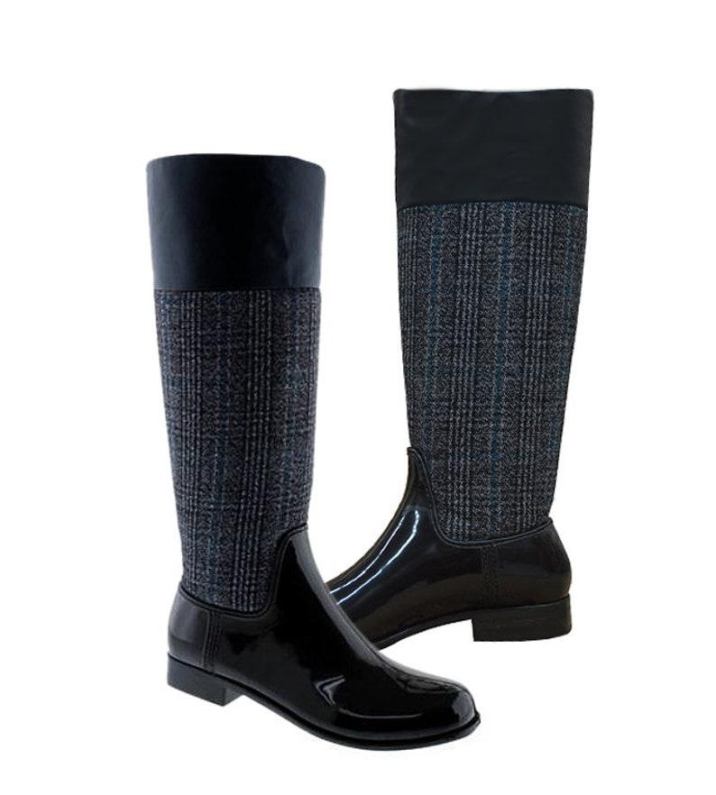 Women Rain Boots Greenbox Official Tall Grey and Black Combo Color Fashion Rain Heel Boots