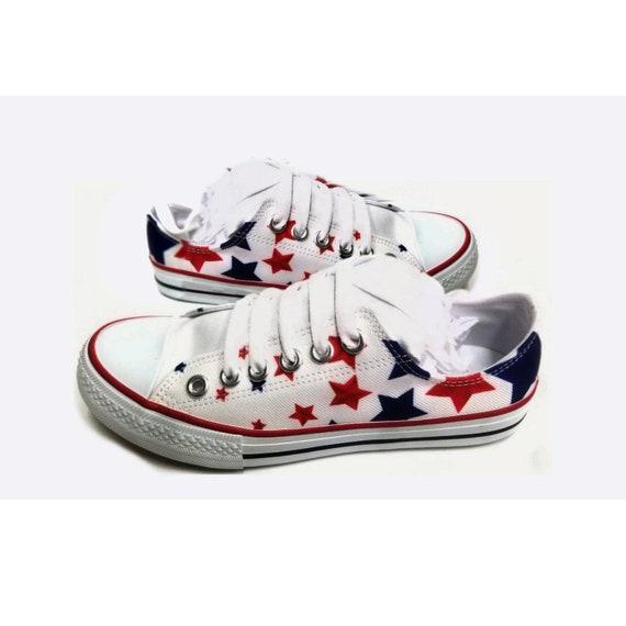 Blue Star Spangled USA Tennis Shoes | Etsy