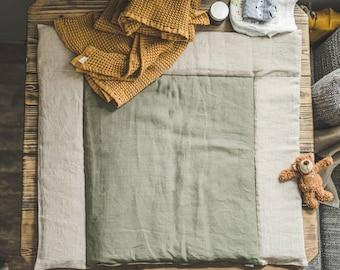 Linen baby changing mat, organic changing mat, Baby diaper changing pad