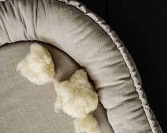 WOOL Fill Linen Baby Nest, Organic pure baby nest