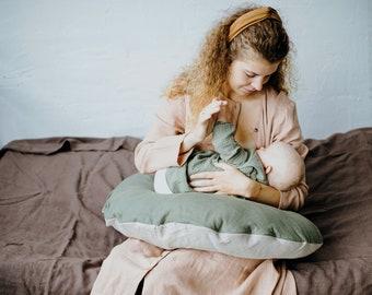 Natural Nursing Pillow with a Zipper, Linen Breastfeeding Pillow