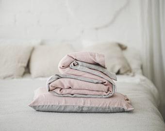 Dusty rose linen bedding set, organic bedding for girl