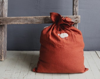 Linen Pouch with hand embroidery, Toy storage bag, Zero waste drawstring bag