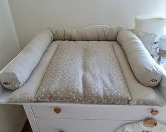 Linen baby changing pad, organic changing mat, Traveler diaper changing pad