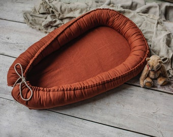 Terracotta baby nest,  baby lounger in rustic style, organic baby nest