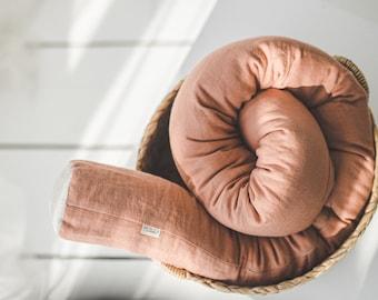 Organic Crib Bumper, Linen Baby Bed Snake Pillow, Cot Bumper with Zipper