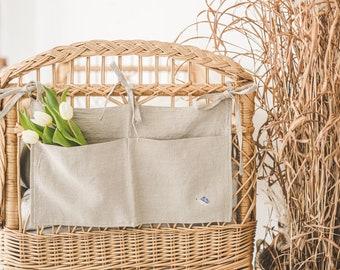 Linen crib organizer, diaper storage, baby pocket organizer