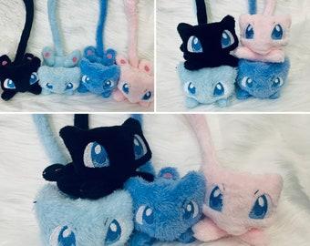 Adorable MEW, SPACE CAT Beanie Plushie, Poke inspired Plush, Shiny, Video Game Plush