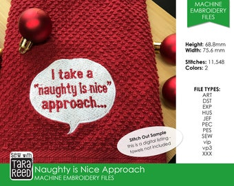 Naughty is Nice Approach - Machine Embroidery Design for Christmas