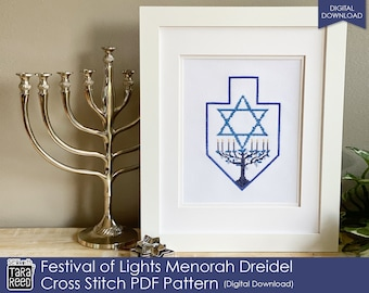 Festival of Lights Menorah Dreidel Cross Stitch Pattern