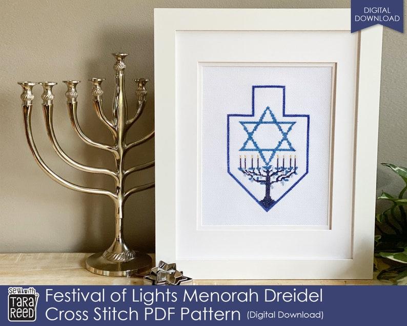Festival of Lights Menorah Dreidel Cross Stitch Pattern image 0