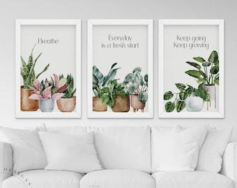 Set of 3 Wall Decor, Home Decor, Printable Wall Art, Inspirational print, Digital Download, Green Wall Decoration, Green Home Decor