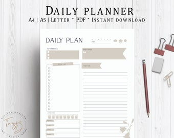 Daily Planner, Printable Day Planner, Productivity Planner, Daily Schedule, To Do List, Daily Planner PDF, Daily Agenda, PDF