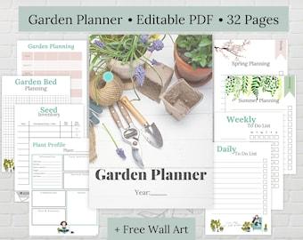 Editable Garden Planner, Printable Garden planner, PDF Planner, Organised Garden, Garden Planner Printable, Garden Wall Art, Garden Planner