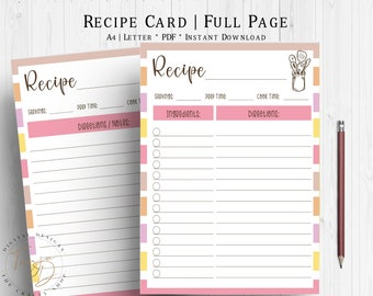 Shades of Pink Recipe Cards, Recipe Page, Printable Recipe Sheet, Recipe Card Template, Recipe Planner Insert, Pink Recipe Planner Page
