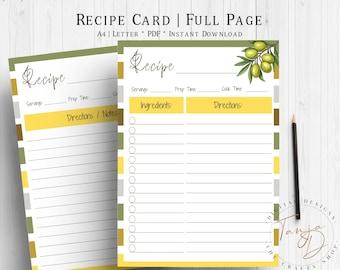 Olive Recipe Cards, Recipe Page, Printable Recipe Sheet, A4 Recipe Card Template, Recipe Planner Insert, Kitchen Planner, Olive Recipe Pages