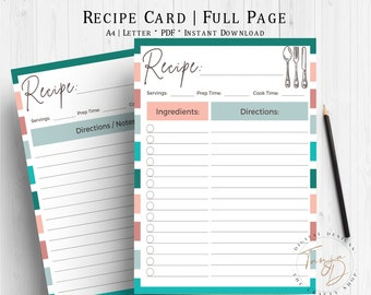 Teal Recipe Card, Recipe Pages, Printable Recipe Sheets, A4 Recipe Card Template, Recipe Planner Insert, Kitchen Planner, Teal Recipe Page