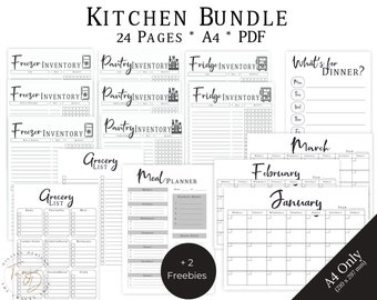 Organized Kitchen Bundle, Kitchen Inventory Printable, Pantry Inventory, Fridge Inventory, Freezer Inventory, Meal Planner, Grocery List