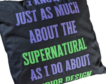 """Beetlejuice """"I Know Just As Much About the Supernatural"""" Cushion Black Green and Purple Otho quote"""