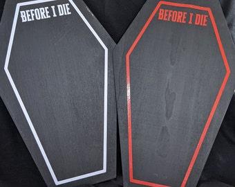 "Goth Emo Halloween Chalkboard Reminder Plaque - Coffin Shaped Reminders ""Before I Die"""