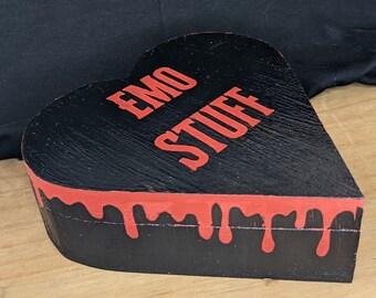 Emo Stuff Bleeding Heart Jewellery Box Alternative Goth Home Decor Red and Black
