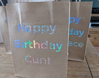 Sweary Gift Bags - Offensive Birthday Accessories - Happy Birthday C*nt