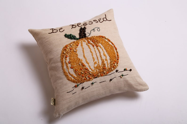 Pumpkin orange accent pillow cover Pumpkin beads vintage decor Be Blessed hand embroidered cushion Last minute Thanksgiving decor