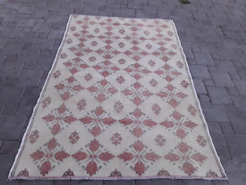 Ecru Rug 4.36/'/'x 6.46/'/' Rug,Oushak rug,Boho handmade area rug,aztec anatolian rug,vintage rug kitchen rug,accent rug Cross Rose Muted Red