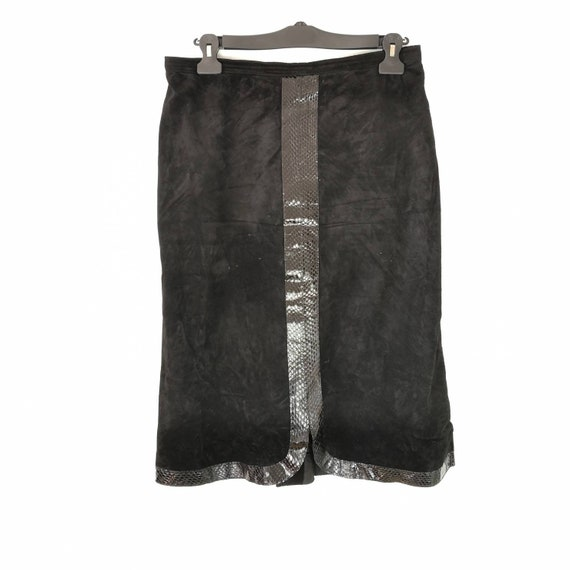 Leather skirt, midi skirt, snakeskin and suede