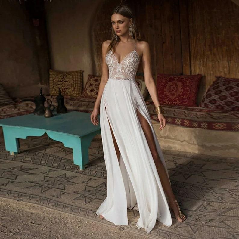 Boho Wedding Dress - Sexy Side Slit Beach Wedding Dress - V-Neck Bridal Dress with Spaghetti Straps – pearls crisscross back wedding dress, Milani Bridal, Etsy