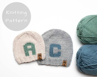 Monogram Hat Knitting Pattern Initial Letter Name Personalized Knit Winter Beanie Toque Knitted Worsted Weight Baby Toddler Child Women Men