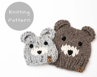 Bear Ears Hat Knitting Pattern Face Knitted Knit Chunky Animal Winter Toque Thick Warm Wool Ease Thick and Quick Newborn Baby Toddler Child