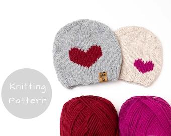Heart Hat Knitting Pattern Knit Winter Beanie Toque Love Valentine's Day Knitted Medium Worsted Weight Baby Toddler Child Women Men Thin