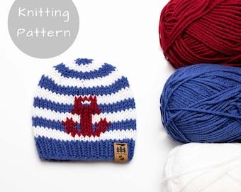 Anchor Hat Knitting Pattern Sailing Nautical Stripes Medium Worsted Weight Knit Winter Beanie Toque Baby Toddler Child Women Men Thin