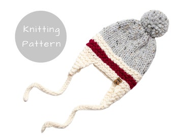 Roots Red Stripe Ear Flaps Hat Knitting Pattern Trapper Aviator Chunky Side Ties Knit Pompom Winter Toque Work Sock Baby Toddler Child Women