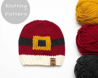 Christmas Hat Knitting Pattern Santa Belt Medium Weight Knit Winter Beanie Toque Baby Toddler Child Women Men Worsted Thin Lightweight Plain