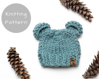 Knitting Pattern Bear Ears Hat Chunky Animal Winter Toque Thick Warm Wool Ease Thick and Quick Newborn Baby Toddler Child