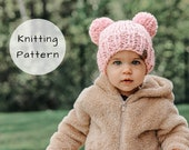 Double Pompom Hat Knitting Pattern Chunky Knit Winter Toque Pom Pom Thick Wool Ease Thick and Quick Newborn Baby Toddler Child