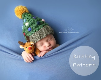 Christmas Tree Hat Knitting Pattern Newborn Baby Toddler Child Women Santa Knitted Pompom Winter Toque Thick Photo Prop Novelty Decorations