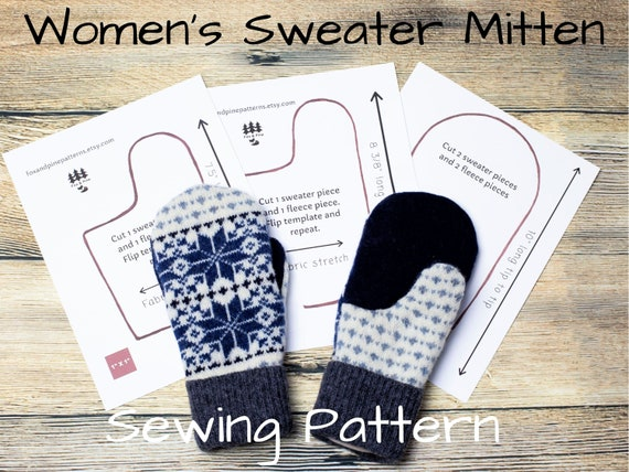 Sweater Mittens Pattern Sewing Upcycled Wool Women Bernie