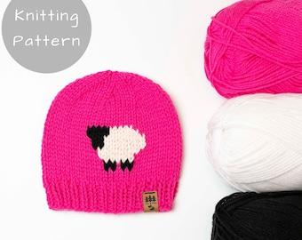 Sheep Hat Knitting Pattern Medium Worsted Weight Knit Winter Beanie Toque Baby Toddler Child Women Men Worsted Thin Lightweight