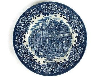 Vintage English Porcelain Plate, Staffordshire Porcelain Plate, Hand Engraved Porcelain Plate, Collectible Plate England