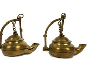 Antique French Oil Lamp, Vintage Pair Hanging Miners Lamp, Hanging Brass Betty Lamps Set France
