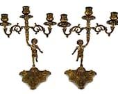 Vintage Pair Metal Candle Holders, Antique Pair Candlesticks, Pair Metal Candelabra
