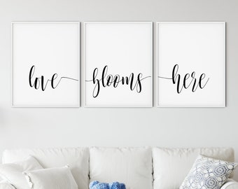 Set of three Love Signs, Printable Wall Art, Home Decor Sign, Housewarming Gift, love blooms here, connected words script - DIGITAL DOWNLOAD